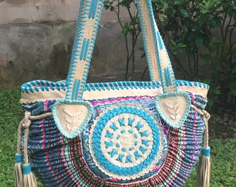 Chia  Vintage Bag- Leather-Bags-Handmade Vintage textil-round.boho