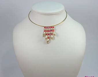 Golden torque - red and white beads necklace