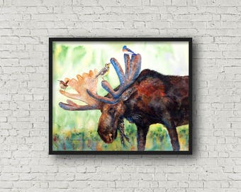 Moose art print: moose wall decor, moose gift, moose painting, Montana bird art, moose wall art, moose lover gift