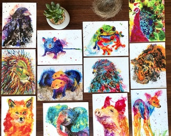 Power Animal collector cards with symbolism, 12 cards in all, colorful animal art, oracle, tarot cards