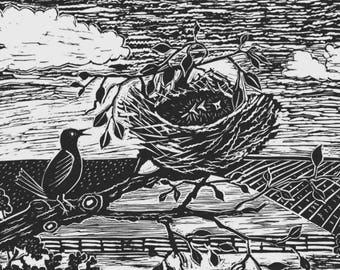 Me First! - original linocut black and white in antique white/black matt - measures 41cm high, 48cm long, image 24cm x 31cm