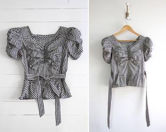 vintage 1940s blouse | womens 1930s blouse | black gingham 40s top | taffeta 30s shirt