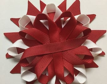 20 red and white Unfinished Birds nest Hair Bows