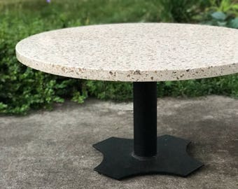 Vintage Terrazo Coffee Table * Mid Century Modern Round Accent Table * Steel Pedistal