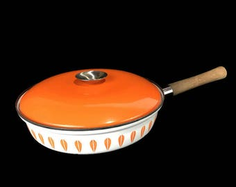 "Vintage Cathrineholm 10.5"" Skillet * Scandinavian Lotus Covered Fry Pan *  Danish Modern"