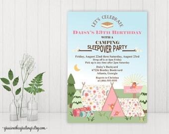 Girls Sleepover Birthday Invitation, Glamping Sleepover Party, Tween Sleepover Invite 8th, 9th, 10th, 11th, 12th, 13th, 14th, digital, K9006