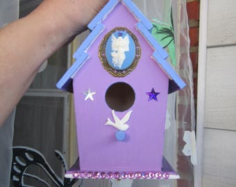 "My New Collection! Handpainted BIRDHOUSE & SUNCATCHER w. Swarovski Crystal pendulum: ""Spiritual Angel""!"