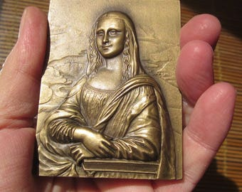 MONA LISA- La Joconde, from Leonardo Da Vinci by collectible engraved Bronze plaque by Baltazar: rare!