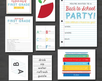 Back to School Printable Party Pack