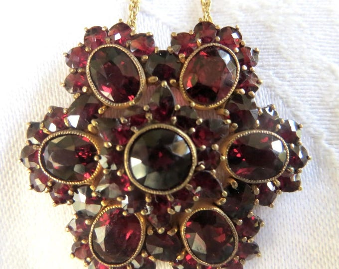 Vintage Bohemian Garnet Necklace, Vintage Czech Garnet Jewelry