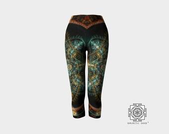 Yoga Capri Pants , Printed Capri , Yoga capri , Womens Activewear , sacred geometry , Womens Leggings , Sexy Pants , Boho capri pants
