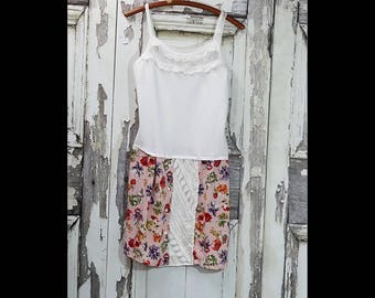 Upcycled Clothing Boho Chic Floral Dress Eco Fashion Tank Dress Shabby Chic Summer Dress Romantic Clothing
