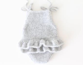Newborn props - Newborn romper - Baby girl props - Photo props - Newborn girl - Baby photo prop - Newborn baby photo - Light gray -Baby girl