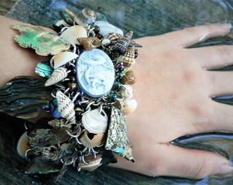 mermaid bracelet resort wear abalone bracelet seashells mermaid cameo cruise wear beach wear  resort wear  high fashion gypsy boho
