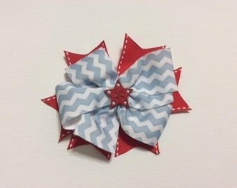 Red white and blue chevron patriotic bow