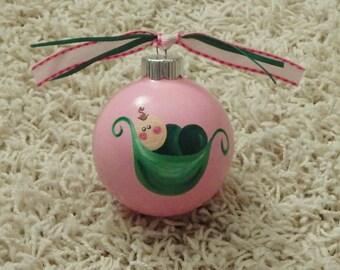 Hand Painted Sweet Pea Christmas Ornament...Sweet Pea Art..Nickname..Hand Painted Ornament..Glass Ornament..Nursery Art..Nursery Decor