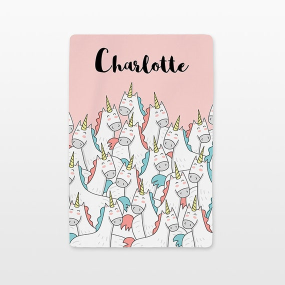 Unicorn Baby Blanket Personalized Custom Name Baby Girl Swaddle Throw Minky Fleece Kids Cute New Baby Gift Idea Soft Pastel Coral Peach Pink