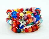 Starfish Memory Wire Cuff Bracelet, Coil Wrap, Beaded Bracelet, Cuff Jewelry, Handmade, Women's Accessories, Fashion Jewelry, OOAK, Charm