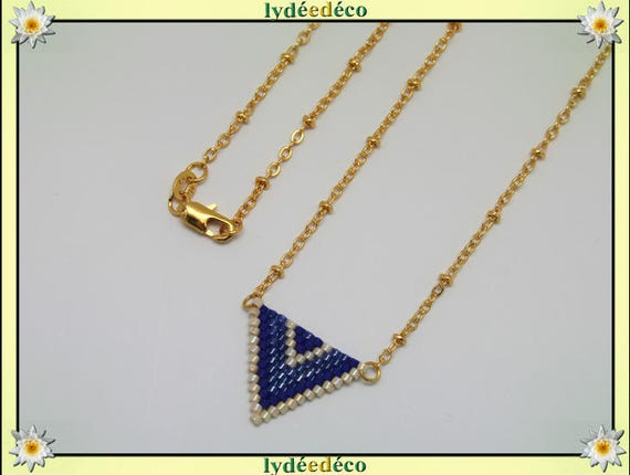 Necklace plated 18 k blue purple beige and gold woven triangle chevron chain ball