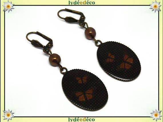 Earrings vintage retro black resin orange Butterfly bronze beads glass pendants 18x25mm