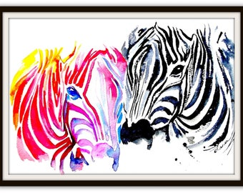 Wanderlust Watercolor Painting, Travel Illustration by Lana Moes, Contemporary Zebras Poster, Colorful Eclectic Home Decor, Valentines Gift