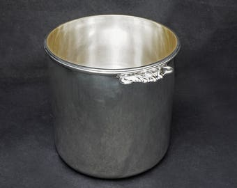 French Puiforcat Modern Champagne Wine Cooler Ice Bucket Barware Silverplate Handled Signed - 20th Century, France