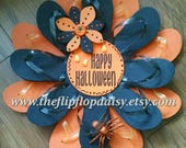 Beautiful and Unique Handmade Happy Halloween Flip Flop Wreath Door Wall Decor Beachy  CUTE