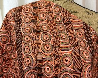 Australian Fabric--Aboriginal Fabric--Aboriginal Art--Cotton Fabric--Ethnic Fabric--Salt Lake Orange--Australian Fabric by the HALF YARD