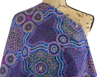 Australian Fabric--Aboriginal Fabric--Wild Bush Flowers Purple--Aboriginal Art--Cotton Quilt Fabric--Australian Fabric by the HALF YARD