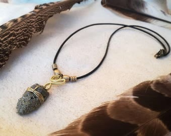 Pyrite gemstone brass necklace. Handmade wire jewerly with.Raw jewerly. Rustic jewerly.