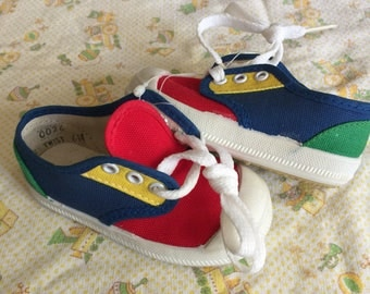 Vintage Color Block Toddler Shoes Sz 6 New Old Stock