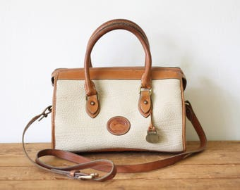 DOONEY and BOURKE Bone AWL Classic Satchel Handbag/ Cream Leather Doctor Satchel/ 1980s Vintage Purse with Detachable Strap 040817