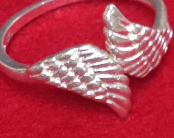 ON SALE NVC Sterling Silver Angel Wing Ring Marked Nvc 10 925 size 10