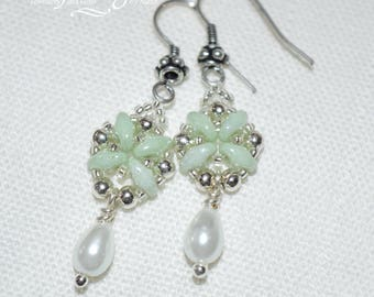 Mint green superduo, silver bead and glass pearl drop earrings
