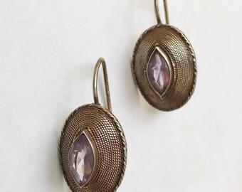 vintage sterling and purple glass or amethyst earrings