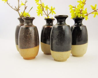 """Five 5"""" Vases - Stoneware - Browns - Glossy Deep Brown - Clay Pots - Pottery Clay Pots - Bud Vases - Art Pottery"""