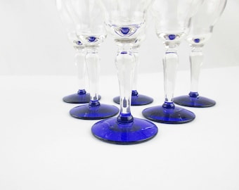 Six One Ounce Cordials - Glass Cordials With Blue Foot - Fragile - Fluted Top and Cobalt Blue Foot - Awesome Deep Color - Liqueur - Barware