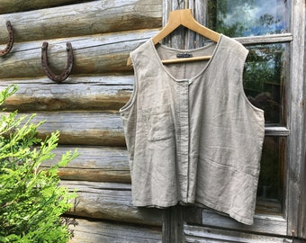 Gudrun Sjoden design linen vest Linen sleeveless Top  XL-size Scandinavian design linen top
