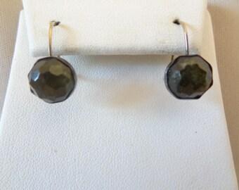 Vintage 14K & Sterling MOSS AGATE Pierced Earrings