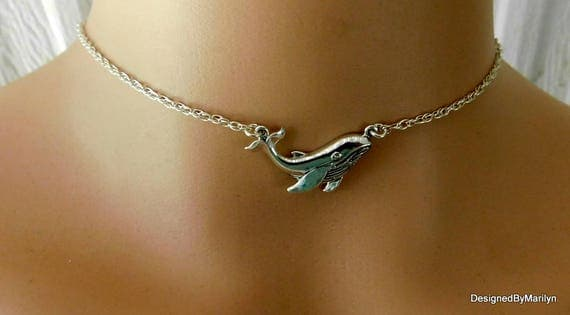 Sterling Silver Humpback Whale Pendant, ocean jewelry, sea life jewelry, sterling silver necklace, Choker