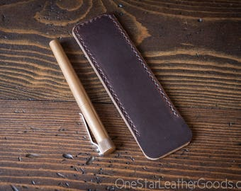 Pen Sleeve size large - hand stitched Horween leather - brown