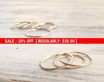 SALE 20% OFF set of 4 rings, knuckle ring, stacking rings, thin ring, gold knuckle ring, simple ring, midi ring, smooth ring -RB11