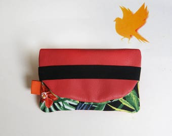 """May tropics"" coral leather tobacco pouch"