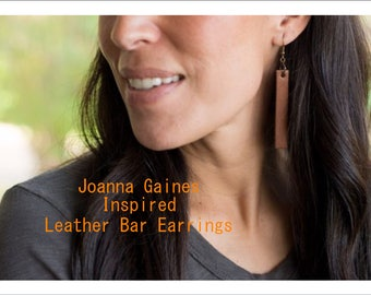 Joanna Gaines Inspired Leather Bar Earrings-Camel Brown or Midnight Black, leather drop earrings, Toniraecreations