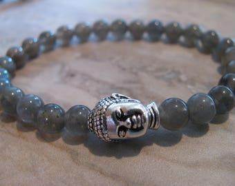 Labradorite Gemstone Buddha Stretch Bracelet- Budda, Budha, Yoga, Boho, Mala, Energy, Meditation, Gift, Minimalist-Toniraecreations