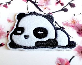 2 iron-on embroidered appliques, panda 7x4.3cm