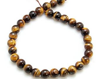 50 (not dyed) natural Tiger eye beads, 4mm
