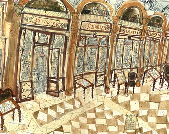 CAFE FLORIAN VENICE, Painting of Venice Cafe, St Marks Square, Signed Limited Edition Art Print, Watercolor Italy Wall Art Clare Caulfield