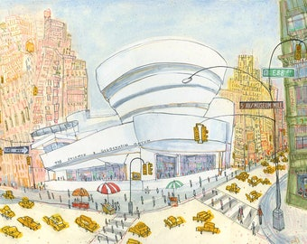 GUGGENHEIM New York City Art, Signed Limited Edition Giclee Print Watercolor Painting, Fifth Ave New York, New York art gallery, NYC Taxis