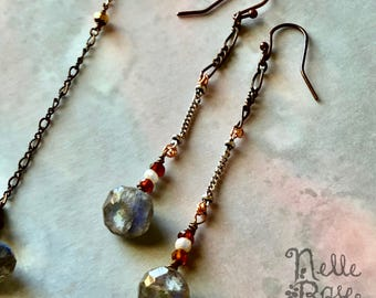 Drops of Jupiter earrings -  FREE shipping! - Unique labradorite, garnet & pearl artisan drop earrings